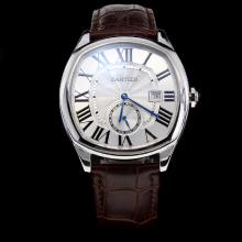 Cartier Drive de Cartier Automatic Roman Markers with White Dial-Leather Strap