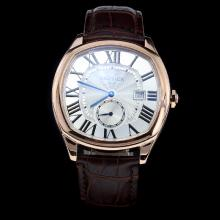 Cartier Drive de Cartier Rose Gold Case Roman Marking with White Dial-Leather Strap