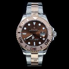 Rolex Yachtmaster Automatic Two Tone Ceramic Bezel with Brown Dial-Oversized Version