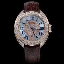 Cartier Cle de Cartier Automatic Diamond Rose Gold Case with Roman Markers-Leather Strap