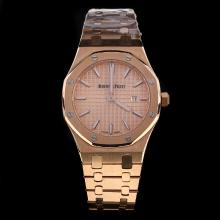 Audemars Piguet Royal Oak Full Rose Gold Stick Markers with Champagne Dial-Lady Size