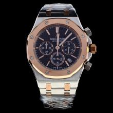 Audemars Piguet Royal Oak Working Chronograph Two Tone Stick Markers with Black Dial-1