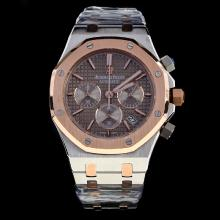 Audemars Piguet Royal Oak Working Chronograph Two Tone Stick Markers with Brown Dial