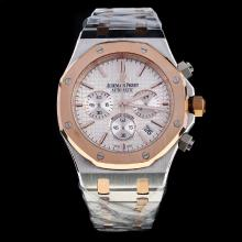 Audemars Piguet Royal Oak Working Chronograph Two Tone Stick Markers with Silver Dial-1