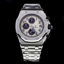 Audemars Piguet Royal Oak Offshore Working Chronograph Number Markers with White Dial S/S-Same Chassis as 7750 Version-1