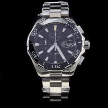 Tag Heuer Aquaracer Calibre 16 Working Chronograph Ceramic Bezel Stick Markers with Black Dial S/S
