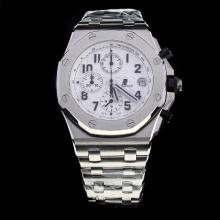 Audemars Piguet Royal Oak Offshore Working Chronograph Number Markers with White Dial S/S-Same Chassis as 7750 Version