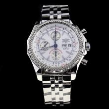 Breitling for Bentley GT Chronograph Swiss Valjoux 7750 Movement with White Dial S/S