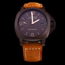 Panerai Luminor Marina Swiss Calibre P.9000 Automatic Movement Brown Case with Brown Dial-Leather Strap