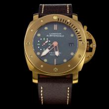 Panerai Luminor Submersible Swiss Calibre P.9000 Automatic Movement Gold Case with Green Dial-Leather Strap