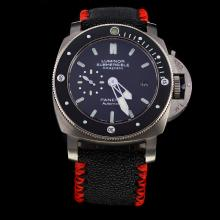 Panerai Luminor Submersible Swiss Calibre P.9000 Automatic Movement with Black Dial-Leather Strap-1