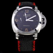 Panerai Luminor Working GMT Swiss Calibre P.9001 Automatic Movement with Black Dial-Leather Strap