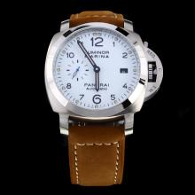 Panerai Luminor Marina Automatic with White Dial-Leather Strap