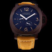 Panerai Luminor Working Power Reserved Automatic PVD Case with Black Dial-Leather Strap