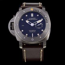 Panerai Luminor Submersible Automatic Titanium Case Black Dial with Leather Strap-Lefty Version