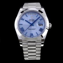 Rolex Day-Date II Swiss ETA 3255 Movement with Blue Dial S/S