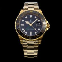 Rolex GMT-Master II Swiss ETA 2836 Movement Full Gold with Black Dial-Ceramic Bezel