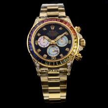 Rolex Daytona Chronograph Swiss Valjoux 7750 Movement Full Gold Diamond Bezel with Black Dial
