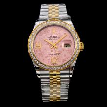 Rolex Datejust Swiss ETA 2836 Movement Two Tone Diamond Bezel with Pink Floral Motif Dial
