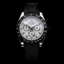 Rolex Daytona Chronograph Swiss Valjoux 7750 Movement Ceramic Bezel Stick Markers with White Dial-Rubber Strap