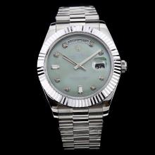 Rolex Day-Date II Swiss ETA 2836 Movement Diamond Markers with Green MOP Dial S/S