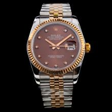 Rolex Datejust Swiss ETA 2836 Movement Two Tone Diamond Markers with Brown Dial