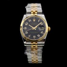 Rolex Datejust Swiss ETA 2836 Movement Two Tone Number Markers with Black Dial