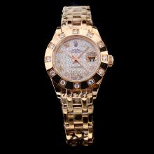 Rolex Masterpiece Swiss ETA 2671 Automatic Movement Full Rose Gold 12 Diamond Bezel with White Dial