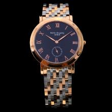 Patek Philippe Classic Two Tone Black Dial with Roman Marking-Sapphire Glass