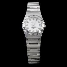 Omega Constellation Diamond Marking with White Dial S/S Lady Size