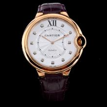 Cartier Ballon bleu de Cartier Rose Gold Case Diamond Markers with White Dial-Purple Leather Strap
