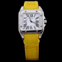 Cartier Santos 100 Roman Markers with White Dial-Yellow Leather Strap