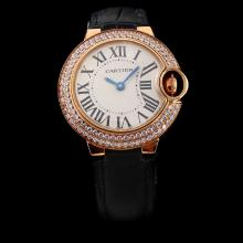 Cartier Ballon bleu de Cartier Swiss ETA Movement Rose Gold Case Diamond Bezel with White Dial-Black Leather Strap