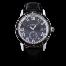 Cartier Ronde Croisière de Cartier Automatic with Black Dial-Leather Strap