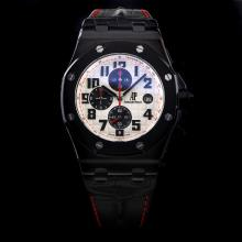 Audemars Piguet Royal Oak Offshore Working Chronograph PVD Case with White Dial-Leather Strap