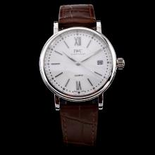 IWC Portofino White Dial with Brown Leather Strap-Lady Size