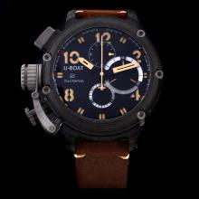 U-Boat Italo Fontana Working Chronograph PVD Case Yellow Markers with Black Dial-Leather Strap
