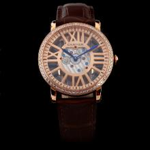 Cartier Calibre de Cartier Rose Gold Case Diamond Bezel with Skeleton Dial-Brown Leather Strap