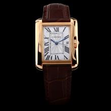Cartier Tank Rose Gold Case with White Dial-Brown Leather Strap