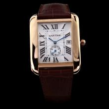 Cartier Tank Automatic Rose Gold Case with White Dial-Brown Leather Strap