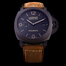 Panerai Luminor Marina Swiss Calibre P.9000 Automatic Movement with Black Dial-Leather Strap