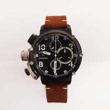 U-Boat Italo Fontana Working Chronograph PVD Case White Markers with Black Dial-Leather Strap