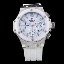 Hublot Big Bang Chronograph Swiss Valjoux 7750 Movement with White Dial-White Rubber Strap