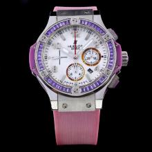 Hublot Big Bang Chronograph Swiss Valjoux 7750 Movement Purple CZ Diamond Bezel with White Dial-Purple Rubber Strap