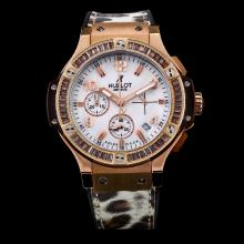 Hublot Big Bang Working Chronograph Rose Gold Case Diamond Bezel with White Dial-Leopard Print Strap