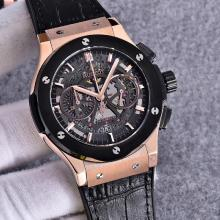 Hublot Big Bang Working Chronograph Swiss Valjoux 7750 Movement Rose Gold Case with Black Dial-Black Strap