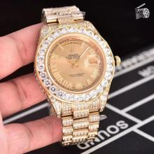 Rolex Day-Date II Swiss ETA 2836 Movement Diamond Markers and Bezel with Gold Dial