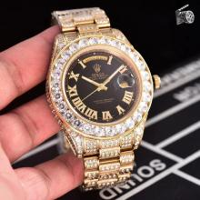 Rolex Day-Date II Swiss ETA 2836 Movement Diamond Markers and Bezel with black Dial
