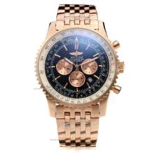 Breitling Navitimer Working Chronograph Swiss Valjoux 7750 Movement Full Rose Gold Case Black Dial