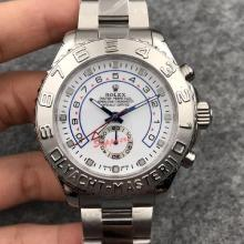 Rolex Yachtmaster II Swiss ETA 7750 Movement stainless steel Bezel with White Dial
